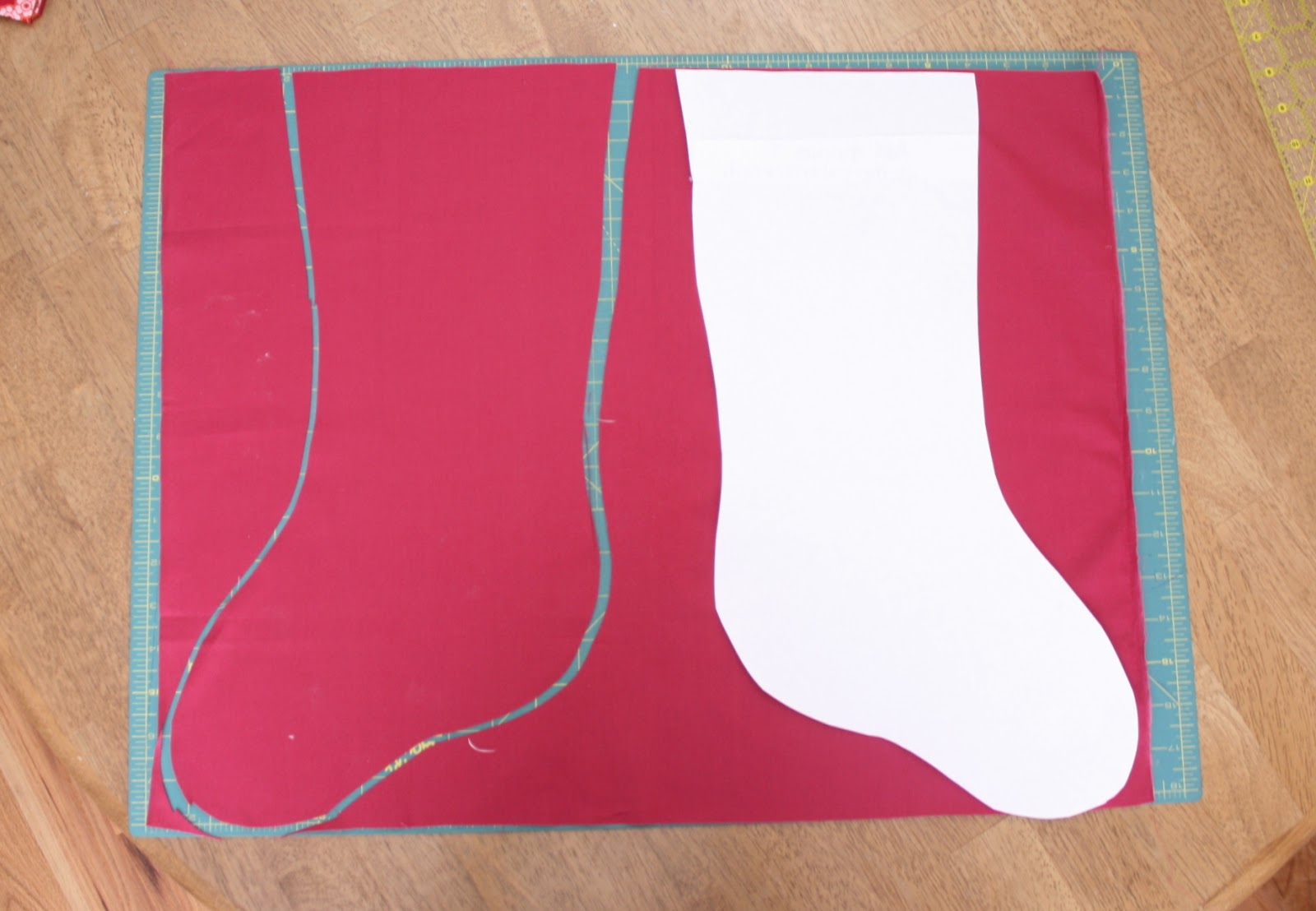 Christmas stocking tutorial diary of a quilter a quilt blog cut out pattern and trace two lining pieces facing opposite directions from one fat quarter jeuxipadfo Gallery