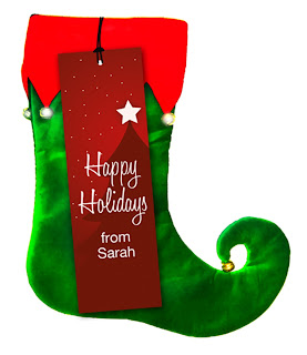 Happy Holidays hang tag or gift tab for presents attached to christmas stocking