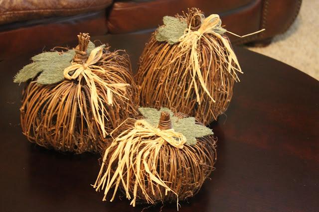 raffia pumpkins