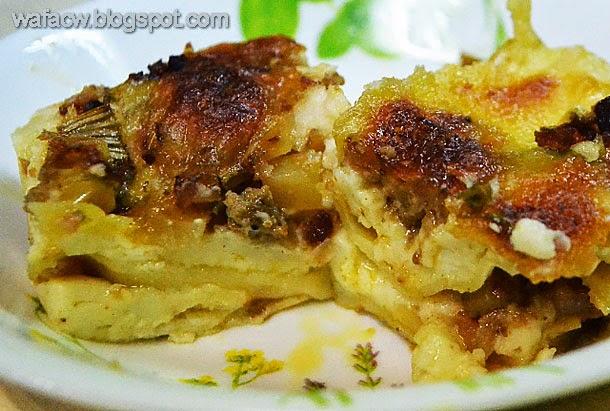 lazatnya lasagna ummi dengan isi daging dan kentang serta cheese