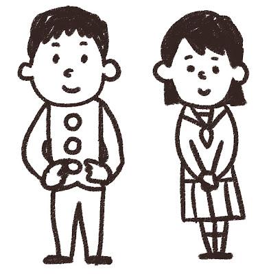 高校生・中学生のイラスト「学ランとセーラー服」 白黒線画