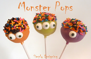 Monster Pops - cute and simple cake pops perfect for Halloween or a Monster Bash Birthday Party | Simply Designing