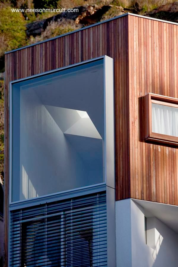 Sector de una casa de uso vacacional hecha de madera con estilo Contemporáneo
