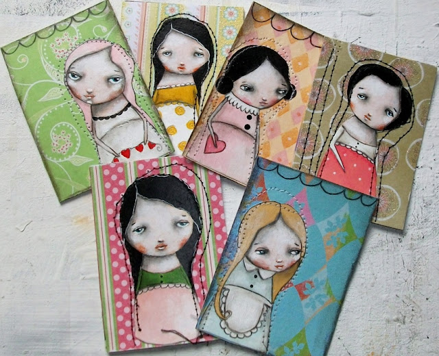 Painted aceo/atc cards by Micki Wilde