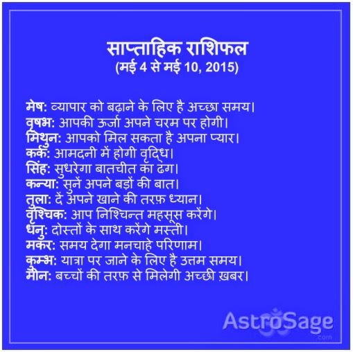 4 May se 10 May 2015 wale saptah me jaane apna bhavishya.