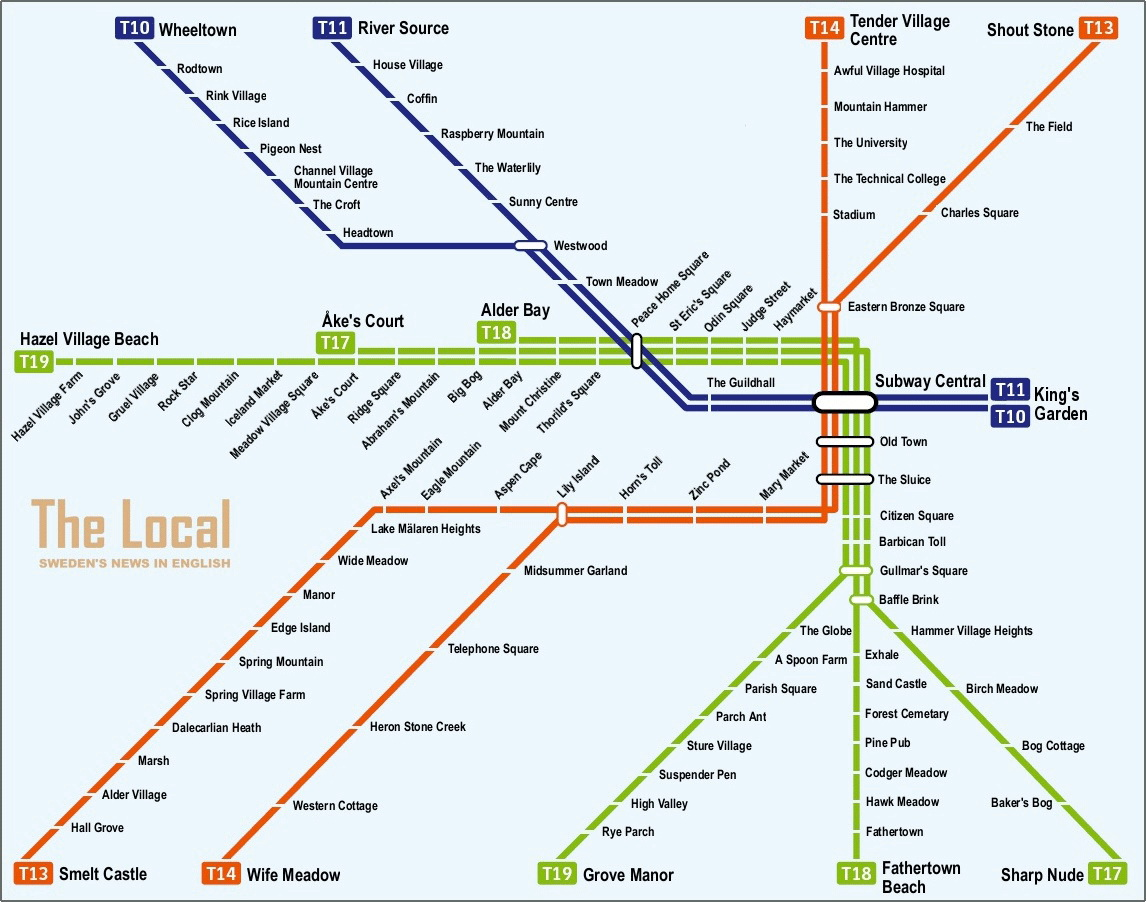 Stockholm metro stop names translated to English