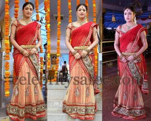 Haripriya Peach Net Half Saree