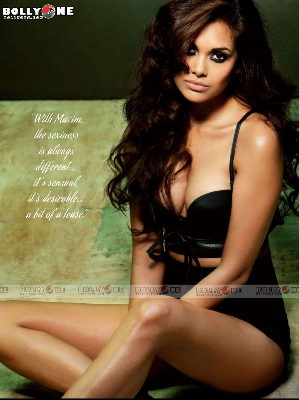 Esha Gupta looking smoking hot in black outfit -  Esha Gupta MAXIM June 2012 HOT PICS (ALL BLACK OUTFIT)