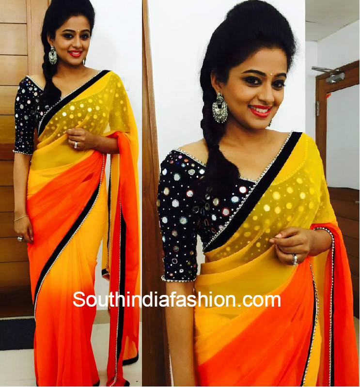 Amizing new trend mirror work saree wedding trends for Mirror work saree
