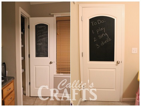 Callie 39 s crafts chalkboard painted on doors for Chalk paint door