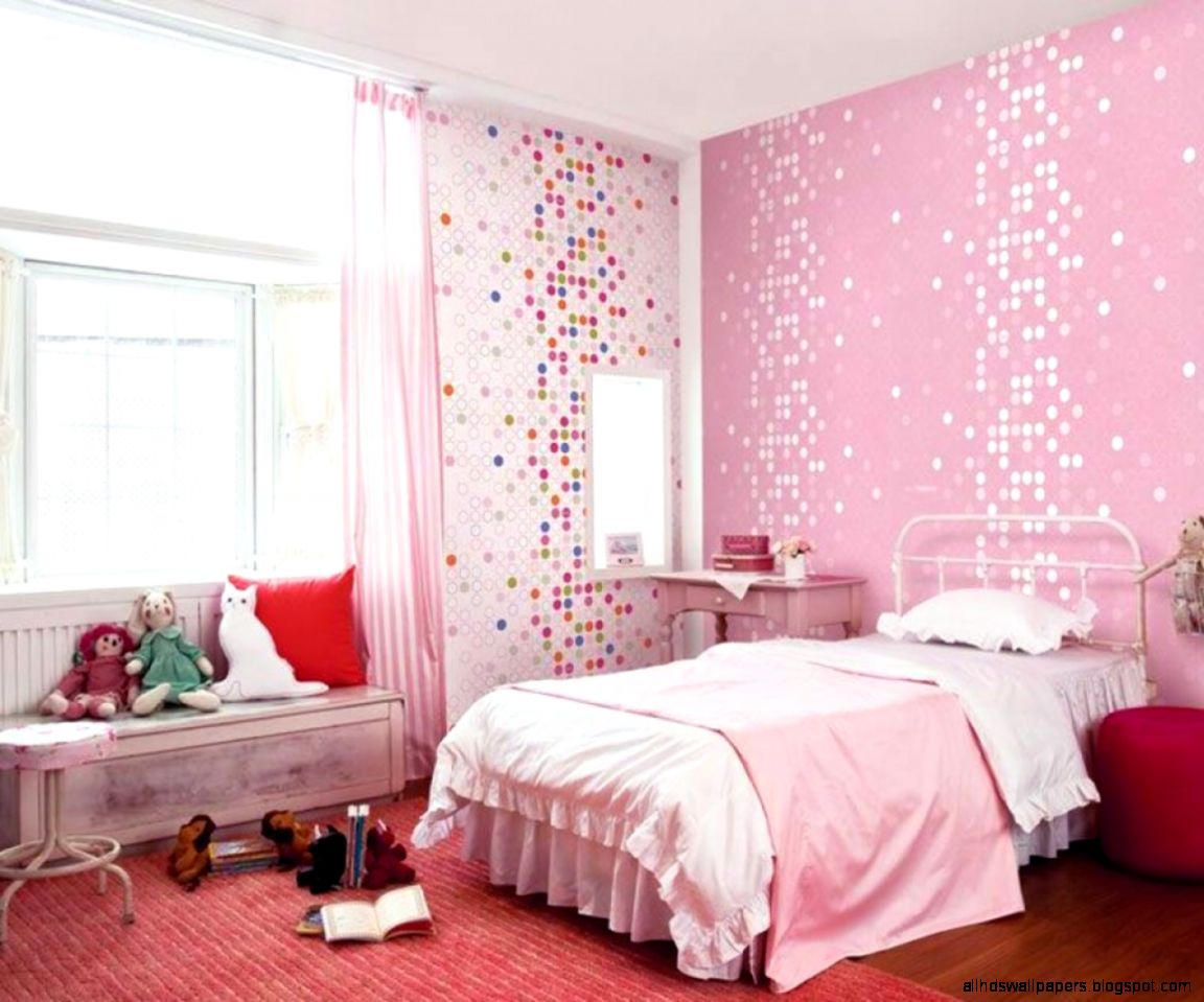 Kids Room Cute Pink Dotty Wallpaper Girls Bedroom Home Design Bed
