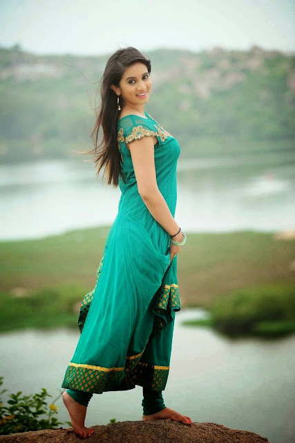 Harshika Stills in Dark Cyan Colour Dress