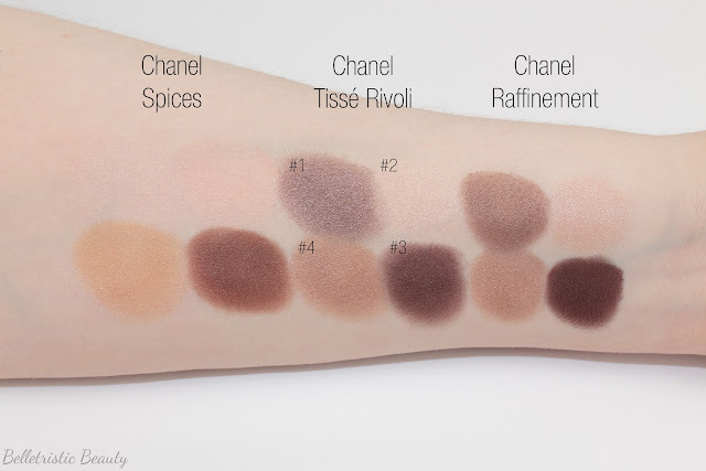 Chanel Tissé Rivoli 226 Les 4 Ombres Multi-Effect Quad swatch comparison, Summer 2014, Collection in studio lighting with forced flash