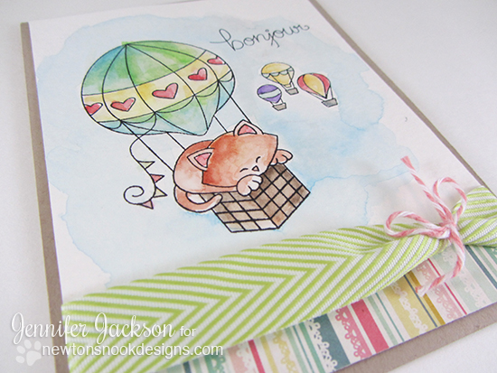 Paris Cat in Hot Air Balloon Card by Jennifer Jackson | Newton Dreams of Paris Stamp setby Newton's Nook Designs
