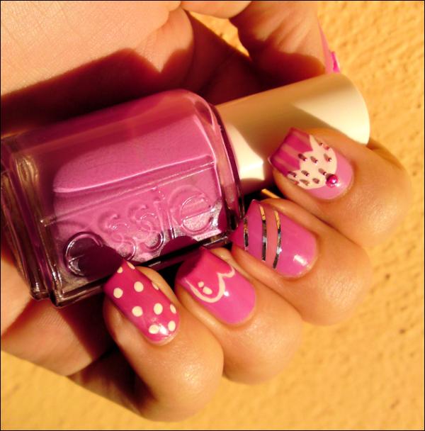Cupcake Nails: Ivana Thinks Pink: Dots, Heart, Stripes & Cupcake Nail Art