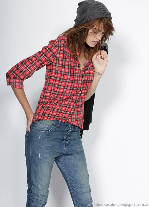 Camisas a cuadros moda invierno 2015 Gloria Jeans.