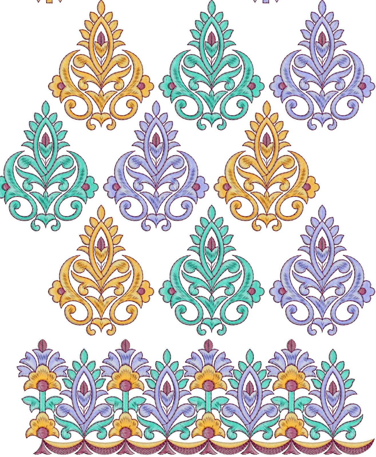 Embdesigntube all over border embroidery designs free for Free blueprint designer