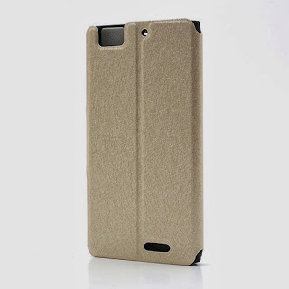 Ice Crystal Texture Leather Flip Case Cover Stand for Lenovo Lephone K900 - Gold