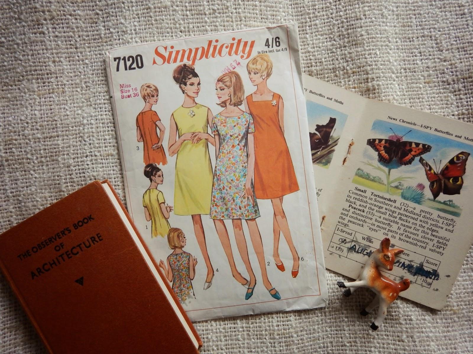 Vintage Sewing, Deer, Butterflies, Architecture