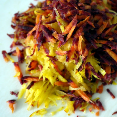 raw shredded golden beet and rainbow carrot