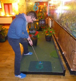 Richard Gottfried playing Plonk Mini Golf in London earlier this year