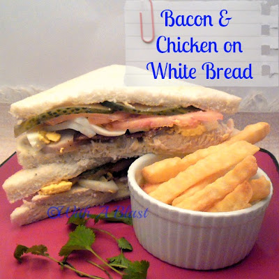 With A Blast: Bacon & Chicken on White Bread  {great for lunch!}  #sandwiches  #chickensandwiches #chicken