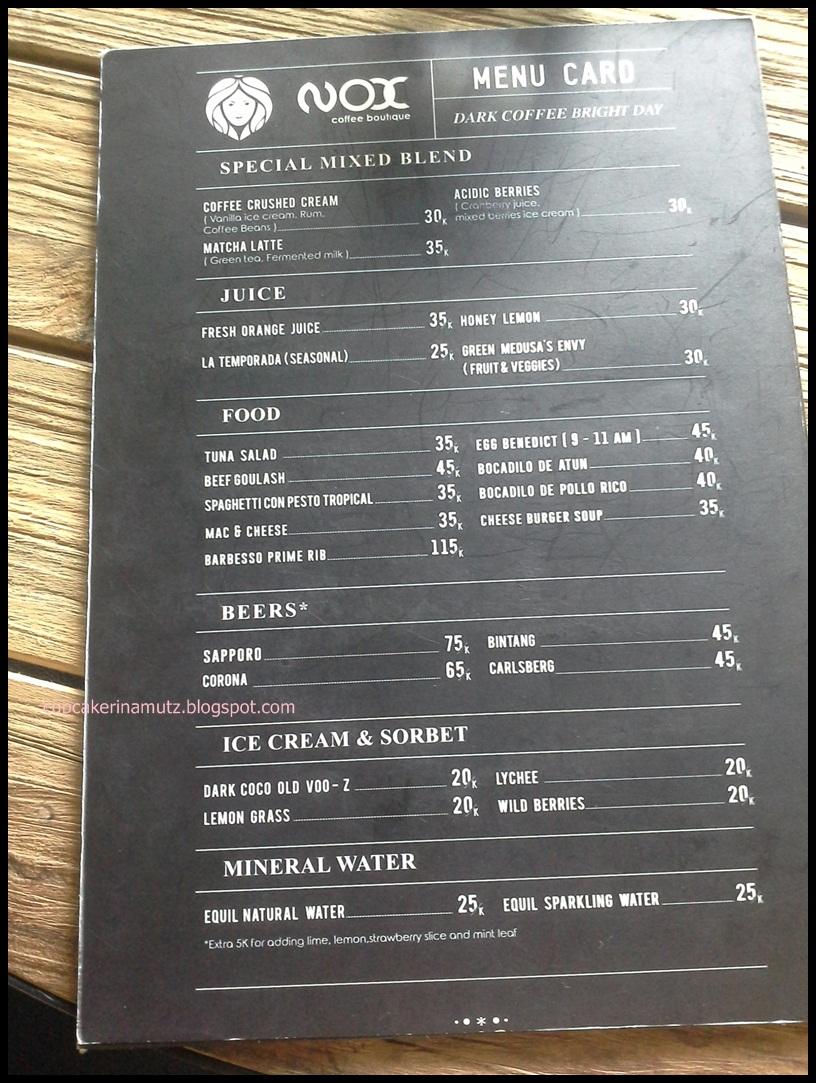 Kuliner jogja nox coffee boutique rina chabbymutz for Z kitchen jogja menu