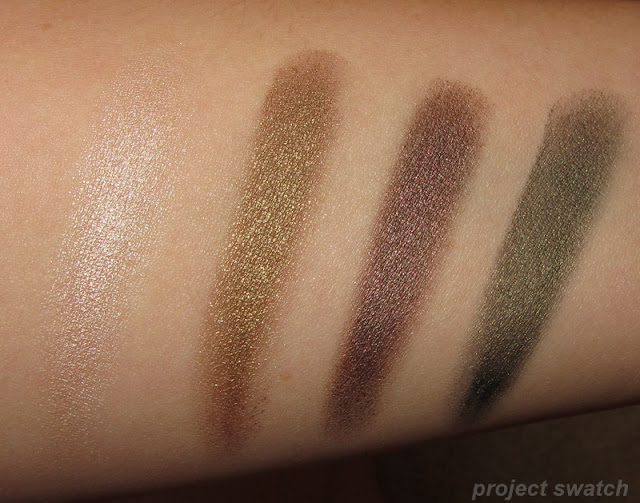 Swatches - Maybelline Barely Beige, Gold Shimmer, Rich Mahogany, Mossy Green