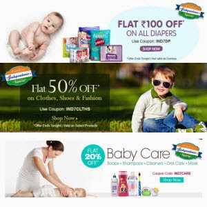 Firstcry : Diapers Rs. 100 off on Rs. 250, Baby care & Maternity Wear 20% off on Rs. 188, Clothes, Shoes & Fashion 50% off on Rs. 300