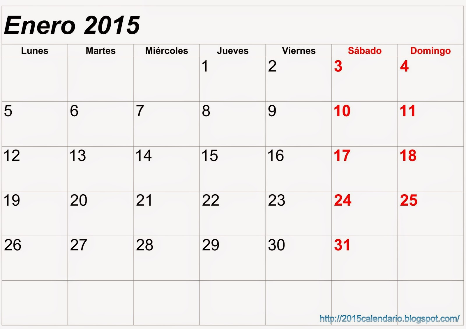 Calendario 2015 para imprimir, Descargar plantilla calendario 2015