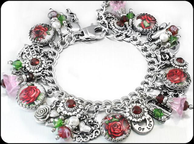 charm bracelet, handmade jewelry, rose charm bracelet