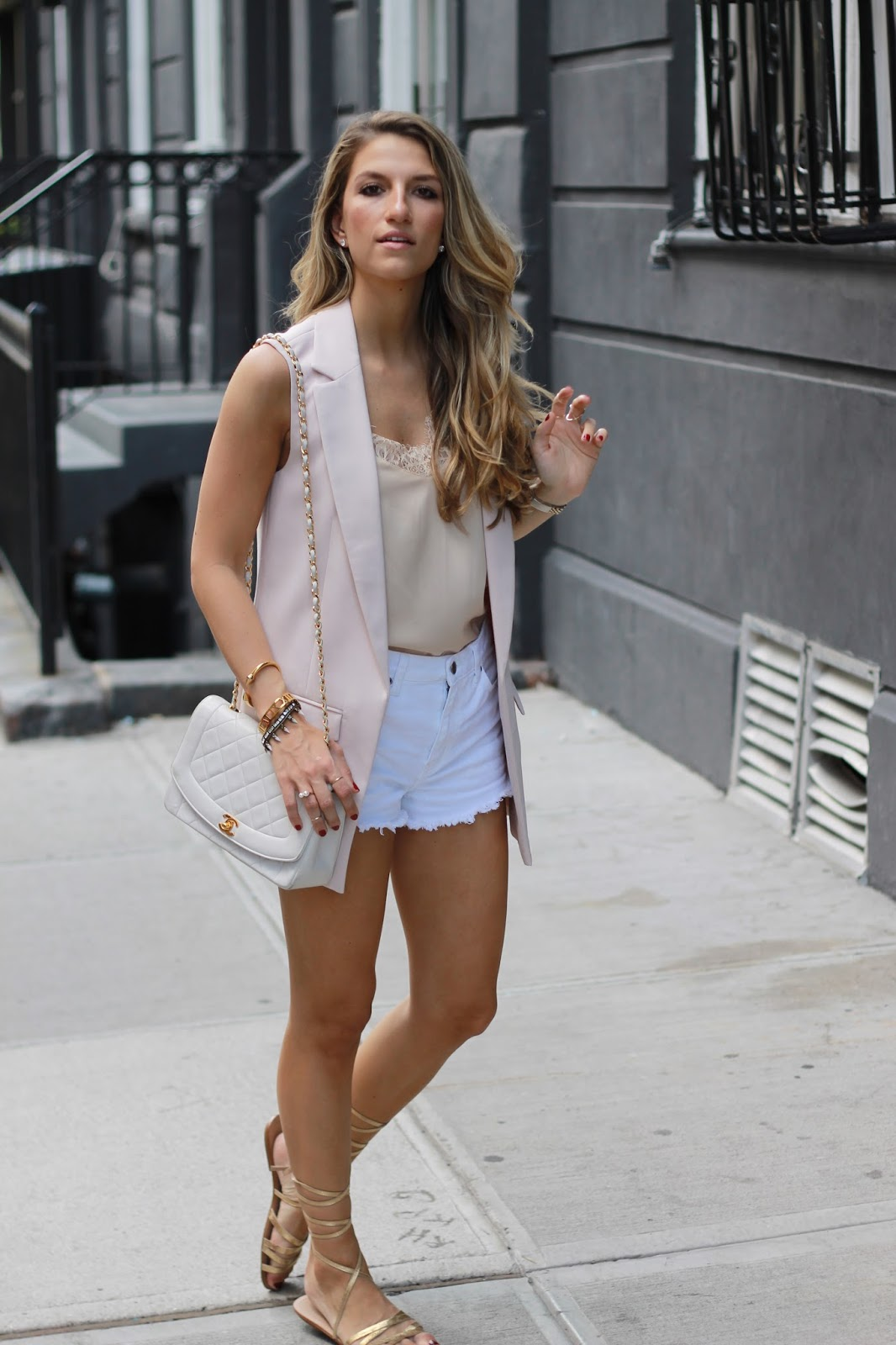 blush blazer, topshop sleeveless vest