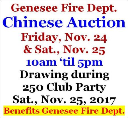 11/25 Chinese Auction, Genesee VFD