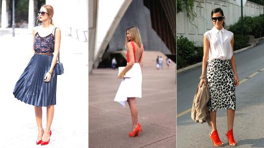 looks com saia e sapato vermelho