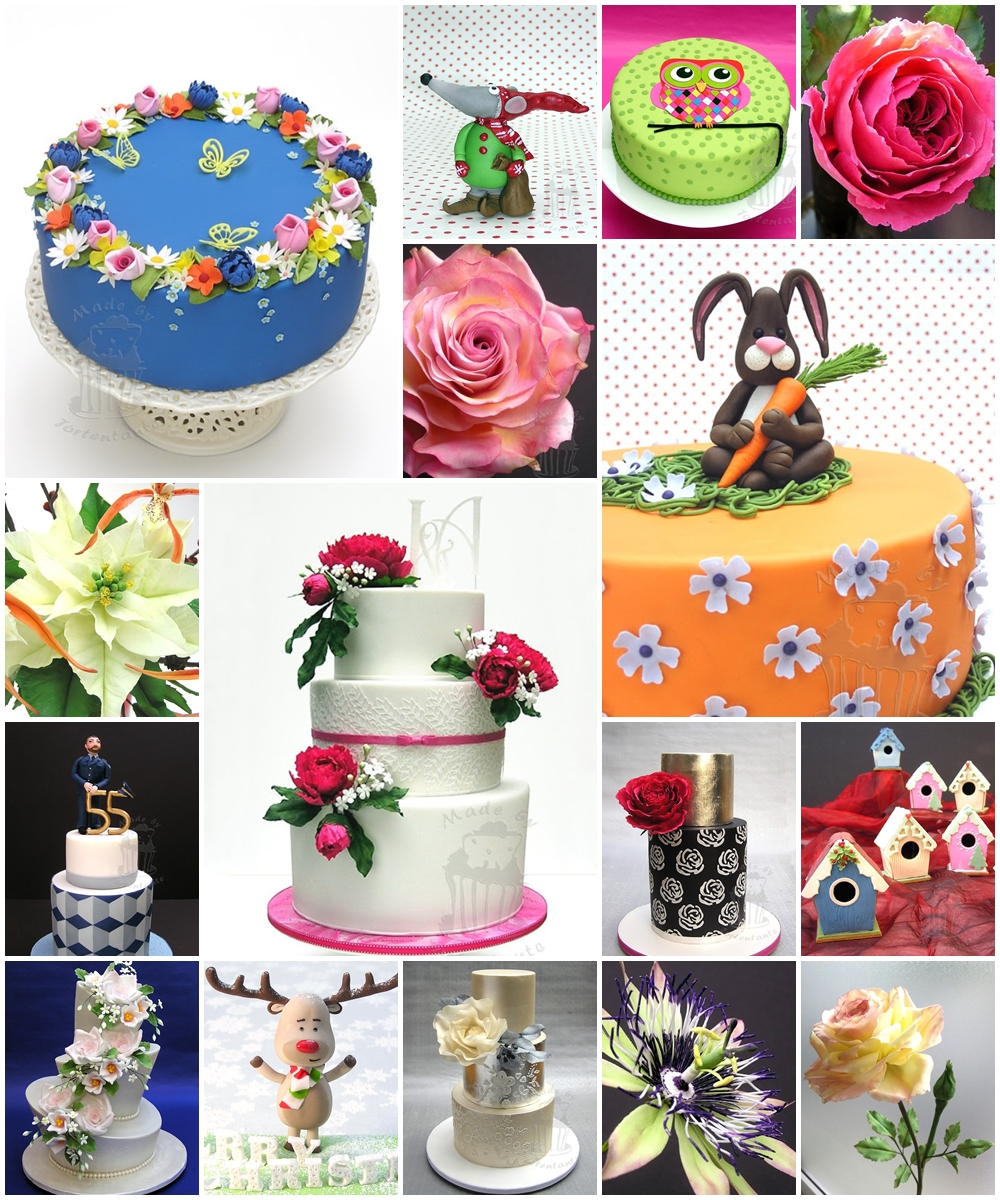 Collage Geburtstagstorten Hochzeitstorte Zuckerblüten