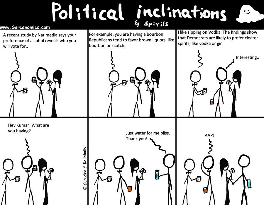 Political inclination related to alcohol preference, Sarcanomics, Webcomics, Comics, AAP,