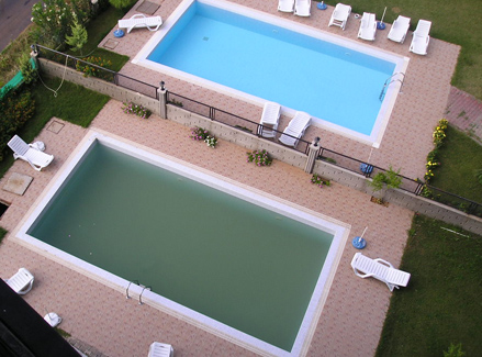 Amo piscinas piscina leitosa cinza verde marrom e for Piscina fuori terra quando piove