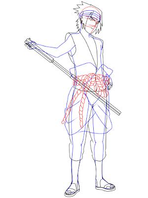 menggambar sasuke uchiha black costume langkah 18