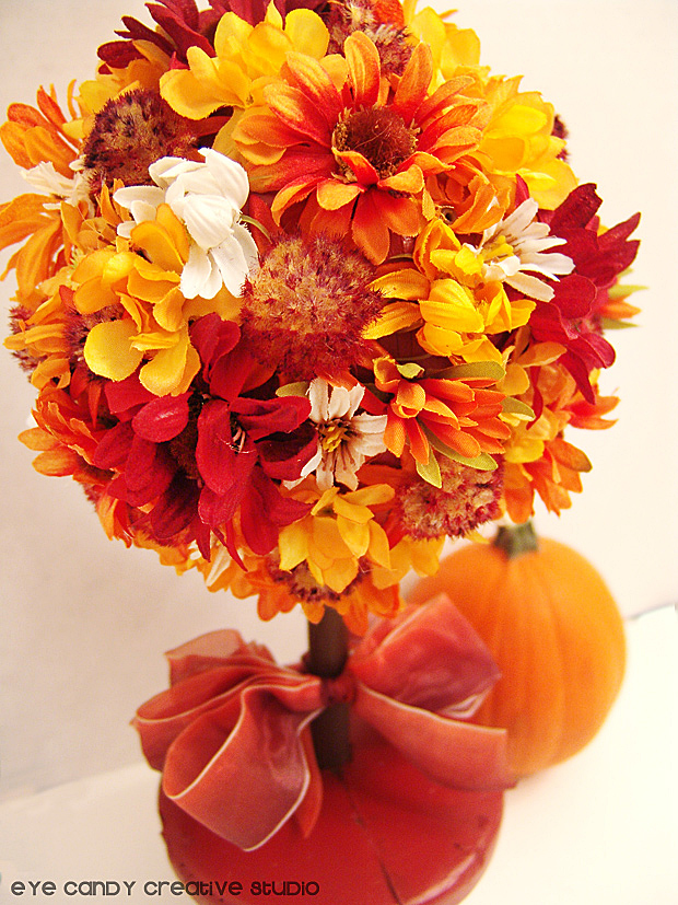 bow, pumpkin, flowers on topiary, fall flower topiary how to, fall decor