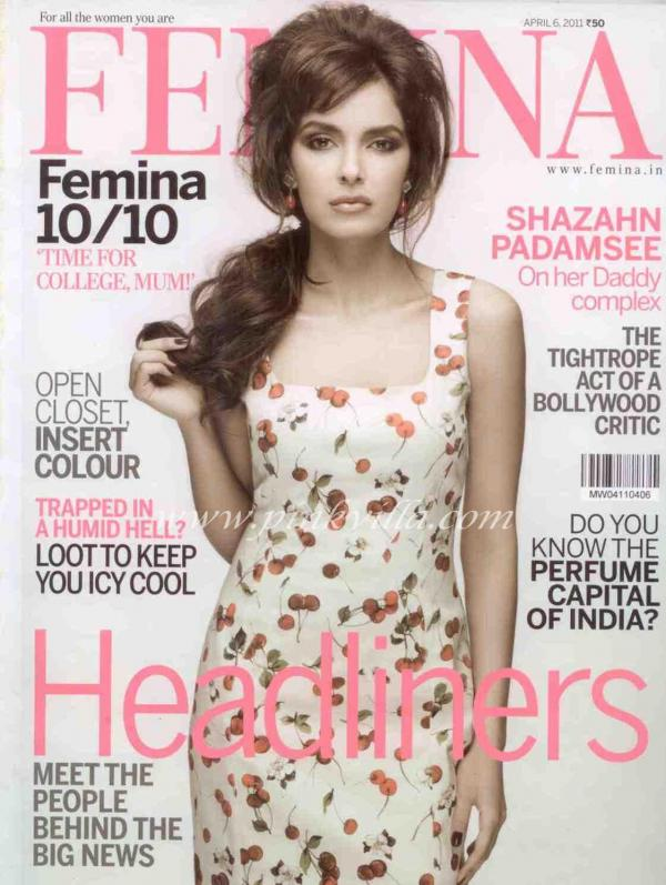 Shazahn Padamsee - Shazahn Padamsee Femina Magazine Cover Scans April 2011 Edition