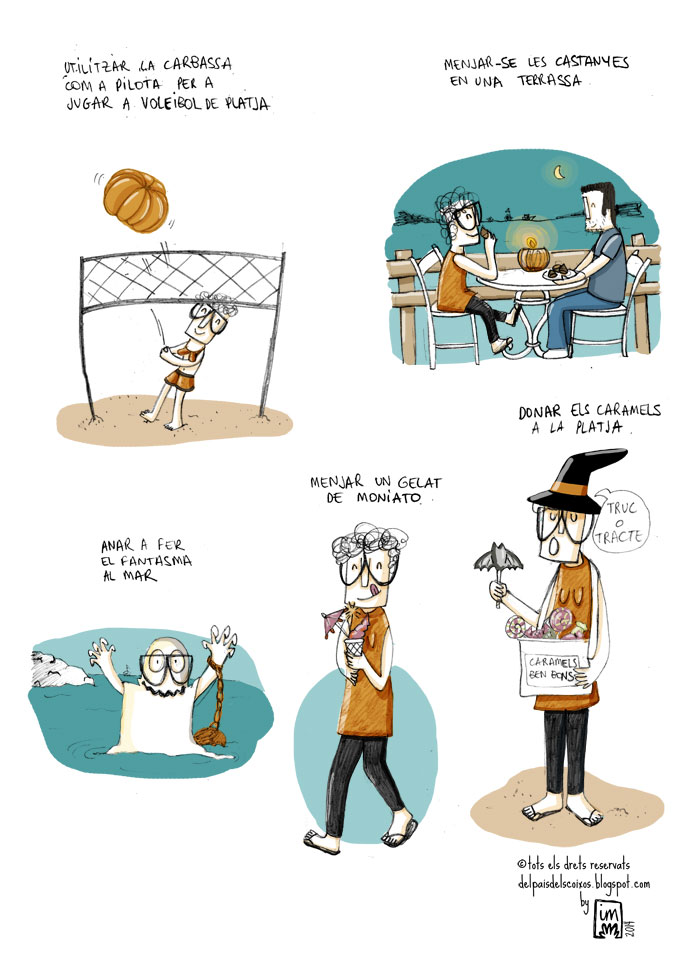 vinyeta il·lustrada per l'Imma Mestre pel blog Del pais dels coixos, sobre els plans per fer aquest any per la castanyada. ©Imma Mestre Cunillera