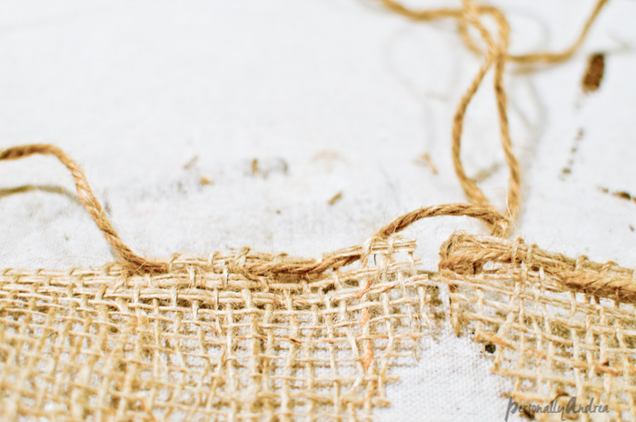 Weaving Twine through Burlap | personallyandrea.com