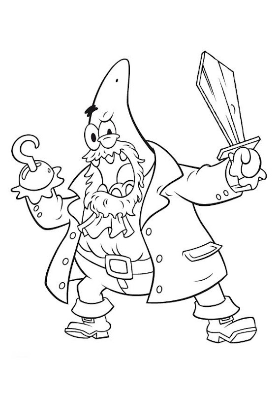 PATRICK AS A PIRATE COLORING PAGE title=