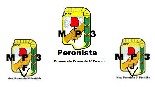 Logos del MP3 Peronista (Centro), MP3 Peronista Femenino (abajo Izquierda) y MP3 Juventud (abajo De