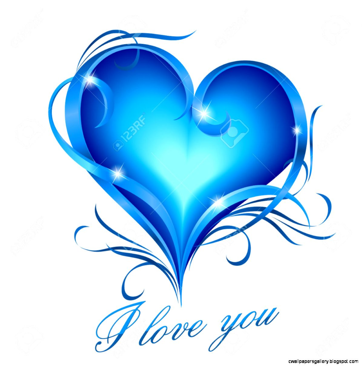 28867700 Glowing blue heart with fl decoration and I love you