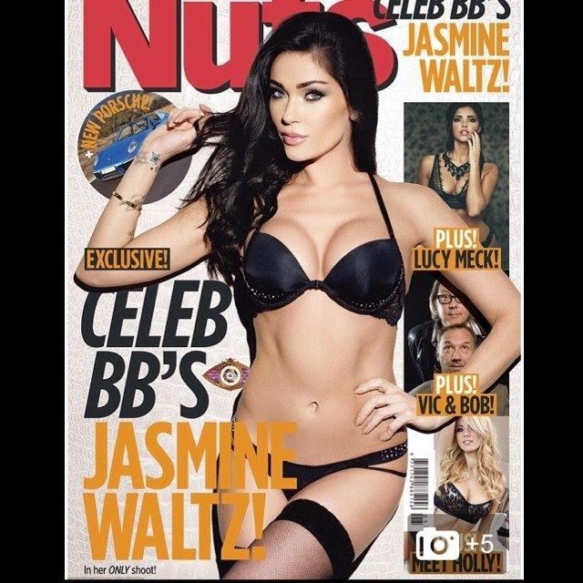 Showing off her great physique in a black bikini, Jasmine Waltz was chosen for the January 2014 cover of Nuts magazine.