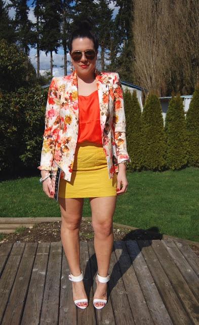 Floral Zara blazer, silk Joe Fresh tank, Forever 21 skirt, Ela Editor's Pouch and Topshop heels