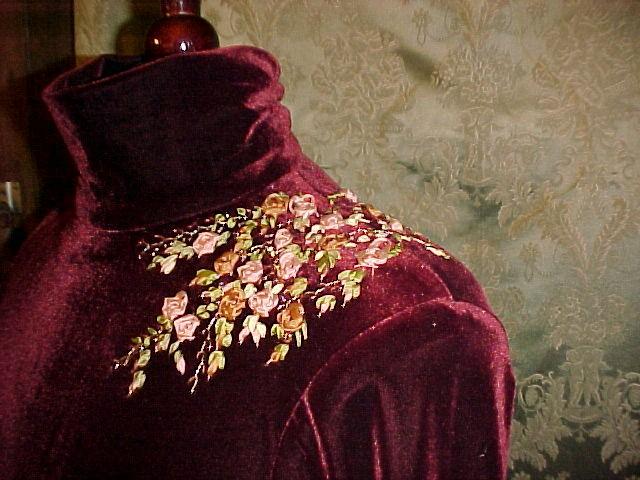 Ribbonsmyth silk ribbon embroidery on cinnamon velvet dress