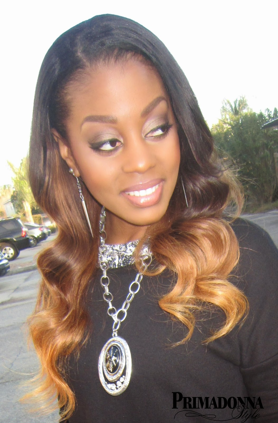 Pretty Black Women of Color Ombre Peruvian Hair Weave