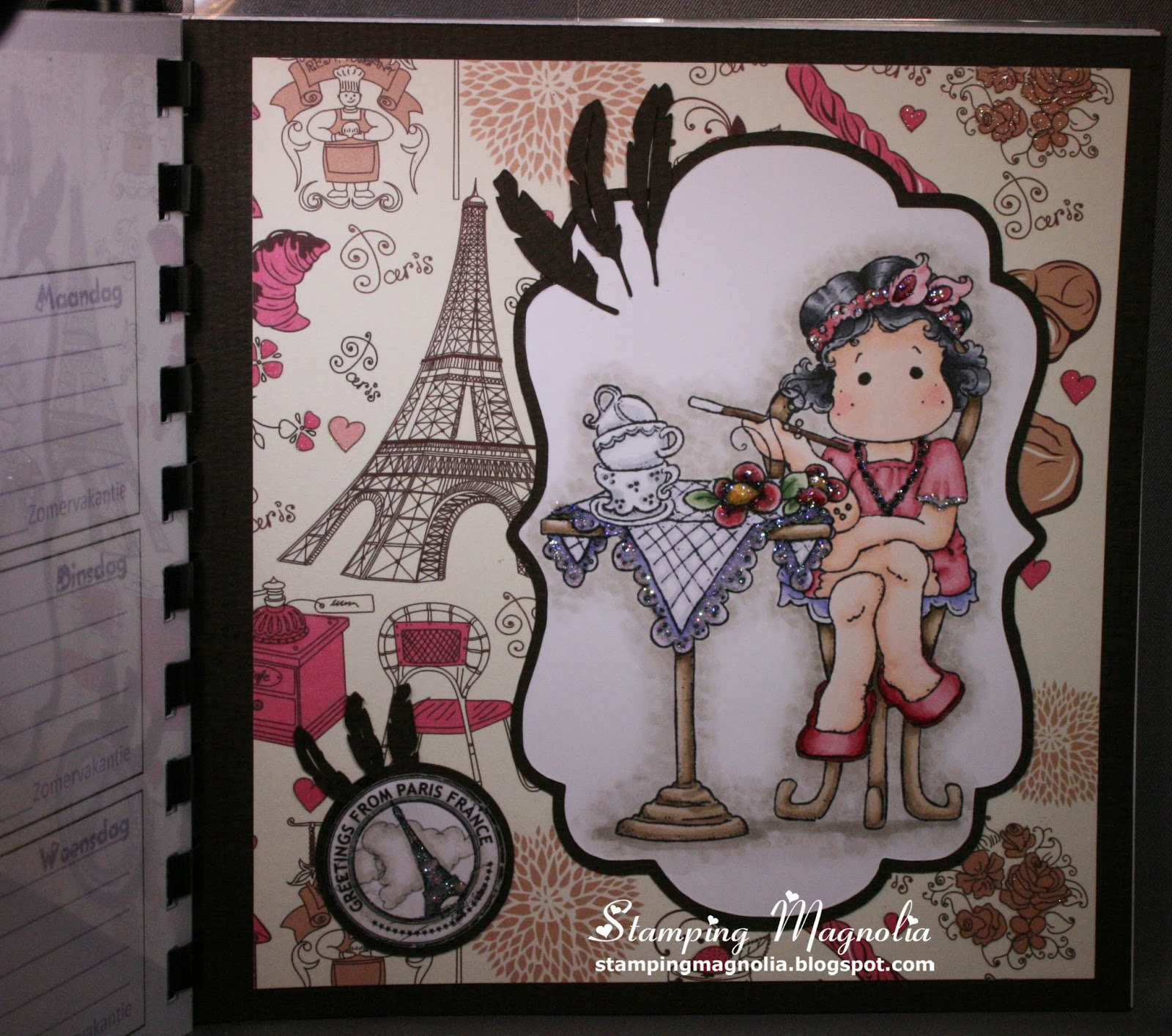 Coloring Magnolia Stamp Summer Memories Collection Tilda in Havanna & French Tea Party & Cafe Chair